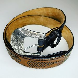 Justin Black and Brown Leather Belt